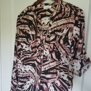 Calvin Klein Half Button Roll Sleeve Blouse, S